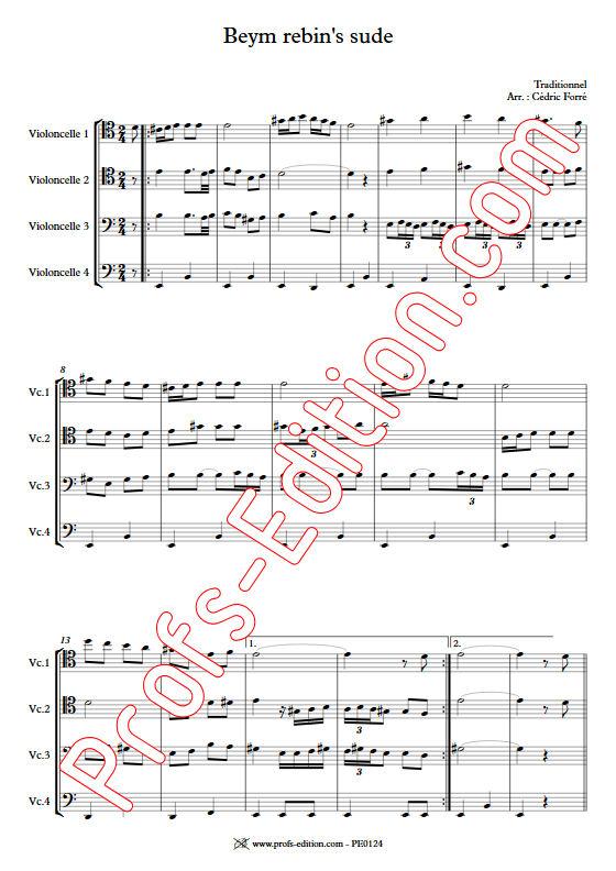 Beym rebin's sude - Quatuor Violoncelles - FORRÉ C. - Partition