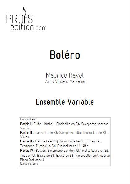 Boléro - Ensemble Variable - RAVEL M. - page de garde