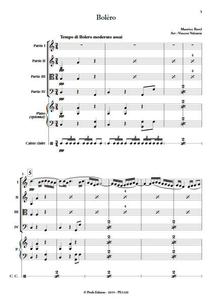 Boléro - Ensemble Variable - RAVEL M. - Partition