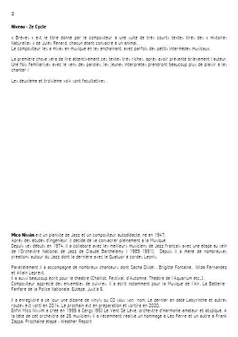 Brèves - Chœur et Piano - NISSIM M. - Fiche Pédagogique