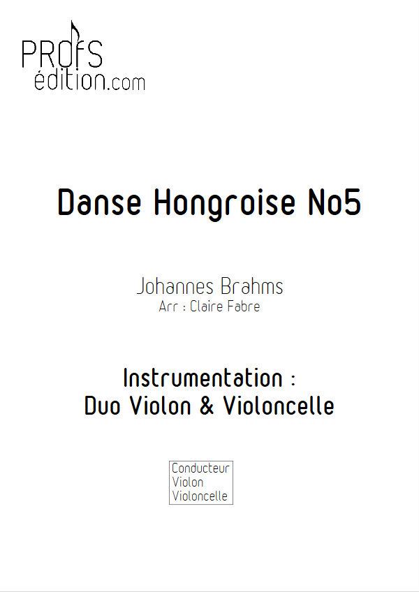 Danse hongroise n°5 - Duo Violon Violoncelle - BRAHMS J. - page de garde
