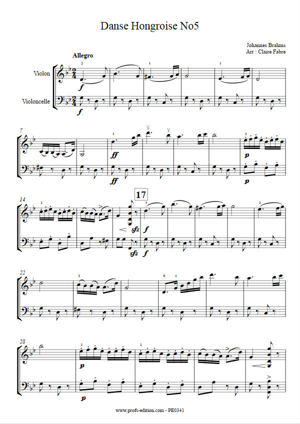 Partition danse hongroise n 5 duo violon violoncelle for Dans hongroise n 5