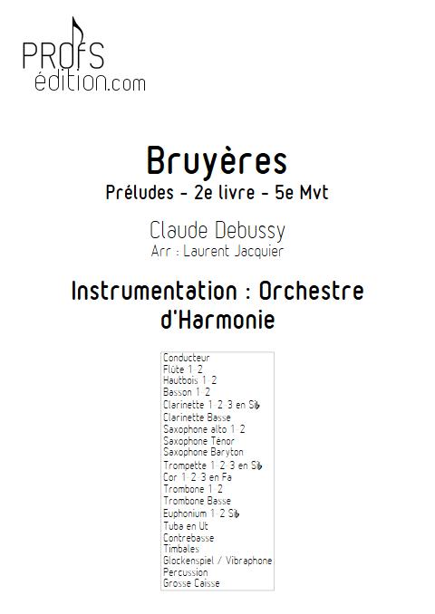 Bruyères -Orchestre d'Harmonie - DEBUSSY C. - page de garde
