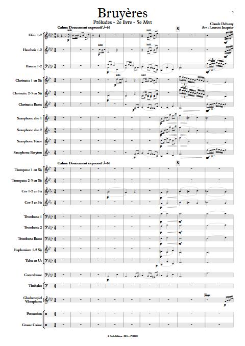 Bruyères -Orchestre d'Harmonie - DEBUSSY C. - Partition