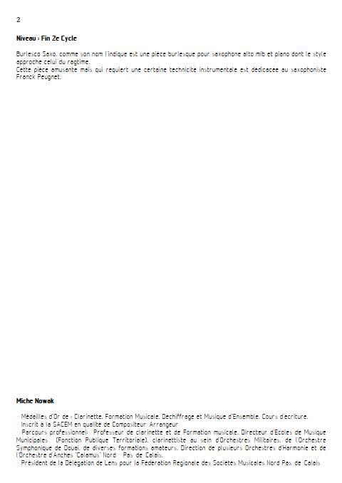 Burlesco Saxo - Saxophone & Piano - NOWAK M. - Fiche Pédagogique