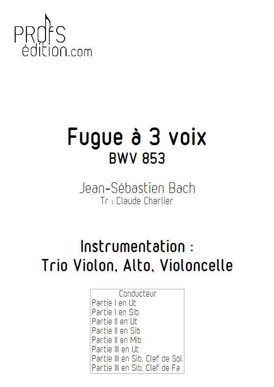 Fugue du Clavier bien tempéré BWV 853 - Trio - BACH J. S. - page de garde
