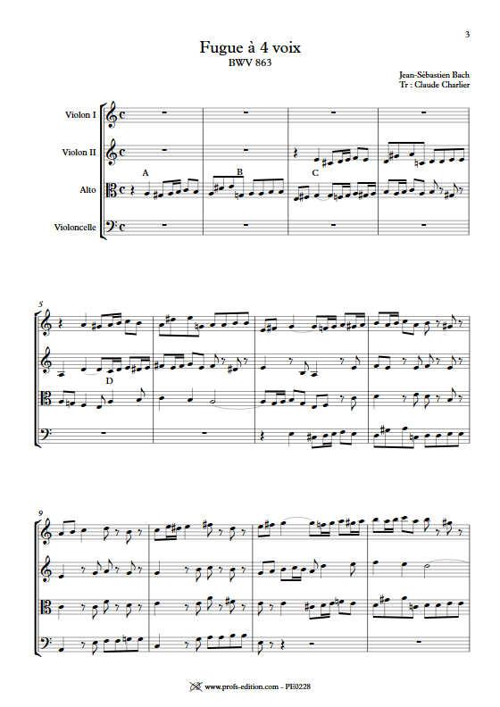 Clavier bien tempéré BWV 863 - Quatuor à Cordes - BACH J. S. - Partition