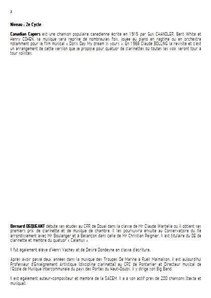 Canadian Capers - Quatuor de Clarinettes - BURNETT E. - Fiche Pédagogique