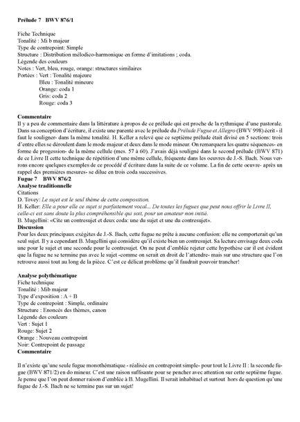 Clavier Bien Tempéré 2 BWV 876 - Analyse - CHARLIER C. - Fiche Pédagogique
