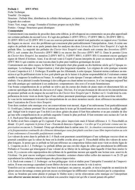 Clavier Bien Tempéré 2 BWV 870 - Analyse - CHARLIER C. - Fiche Pédagogique