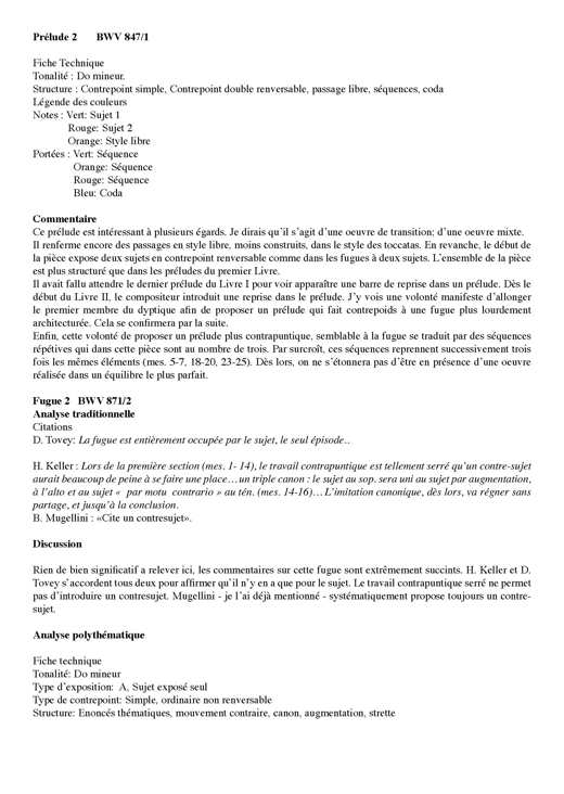 Clavier Bien Tempéré 2 BWV 871 - Analyse - CHARLIER C. - Fiche Pédagogique