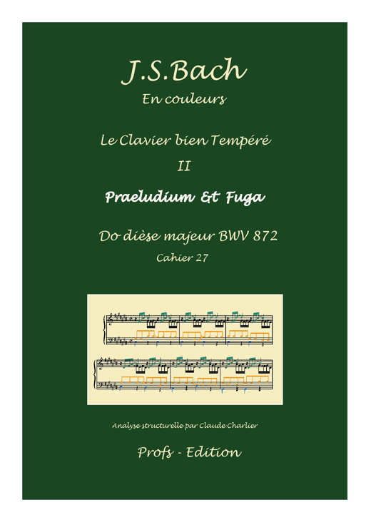 Clavier Bien Tempéré 2 BWV 872 - Analyse - CHARLIER C. - page de garde