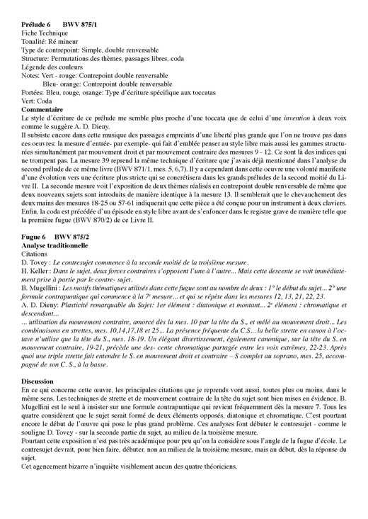 Clavier Bien Tempéré 2 BWV 875 - Analyse - CHARLIER C. - Fiche Pédagogique