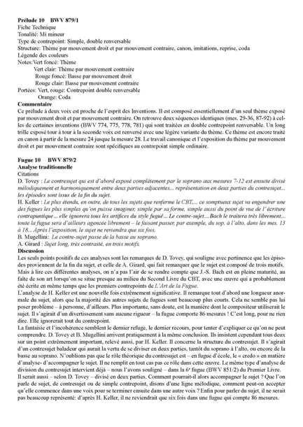 Clavier Bien Tempéré 2 BWV 879 - Analyse - CHARLIER C. - Fiche Pédagogique