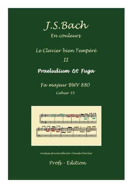 Clavier Bien Tempéré 2 BWV 880 - Analyse - CHARLIER C. - page de garde