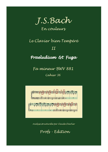 Clavier Bien Tempéré 2 BWV 881 - Analyse - CHARLIER C. - page de garde