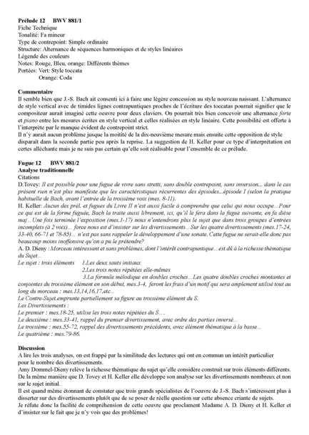 Clavier Bien Tempéré 2 BWV 881 - Analyse - CHARLIER C. - Fiche Pédagogique