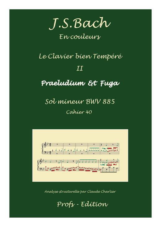 Clavier Bien Tempéré 2 BWV 885 - Analyse - CHARLIER C. - page de garde