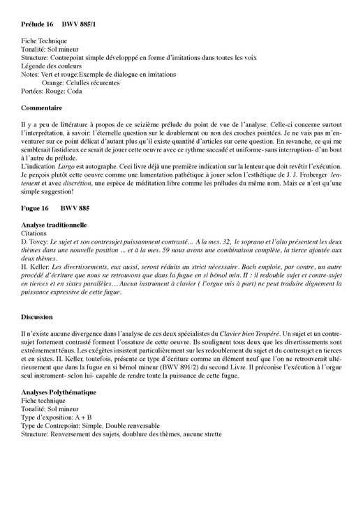 Clavier Bien Tempéré 2 BWV 885 - Analyse - CHARLIER C. - Fiche Pédagogique