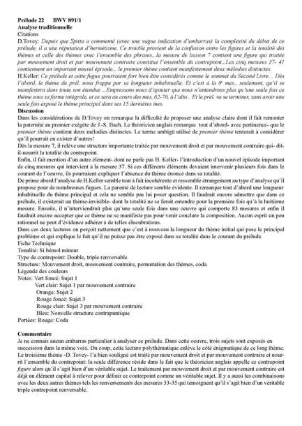 Clavier Bien Tempéré 2 BWV 891 - Analyse - CHARLIER C. - Fiche Pédagogique