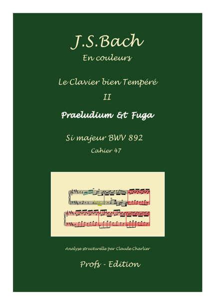 Clavier Bien Tempéré 2 BWV 892 - Analyse - CHARLIER C. - page de garde
