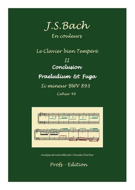 Clavier Bien Tempéré 2 BWV 893 - Analyse - CHARLIER C. - page de garde