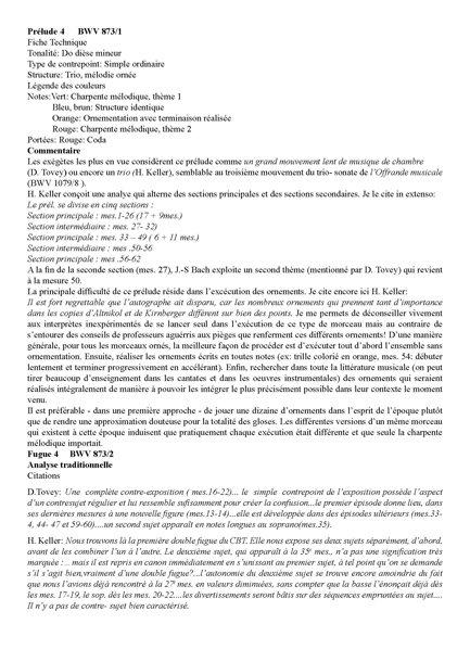 Clavier Bien Tempéré 2 BWV 873 - Analyse - CHARLIER C. - Fiche Pédagogique