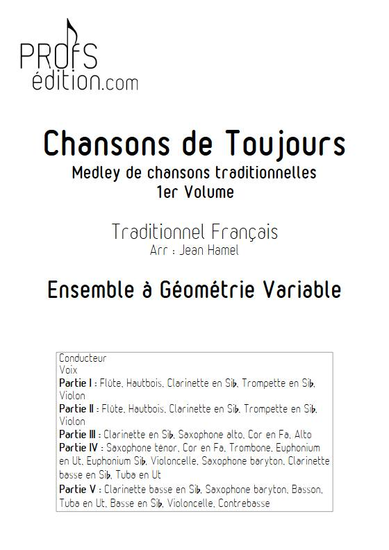 Chansons de toujours Vol.1 - Ensemble Variable - TRADITIONNEL FRANCAIS - page de garde