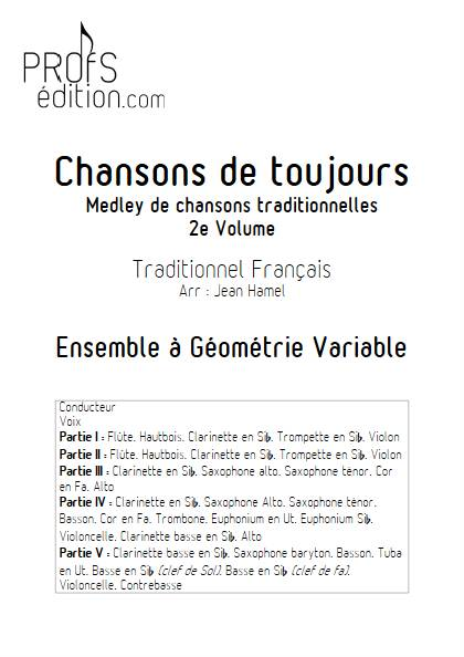 Chansons de toujours Vol.2 - Ensemble Variable - TRADITIONNEL FRANCAIS - page de garde