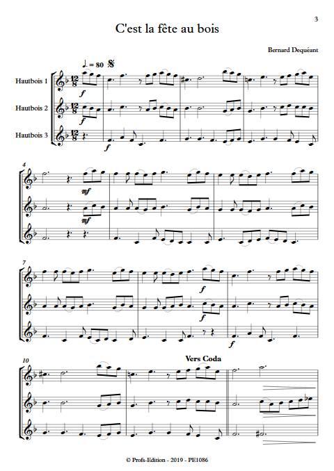 C'est la fête au bois - Trio de Hautbois - DEQUEANT B. - Partition