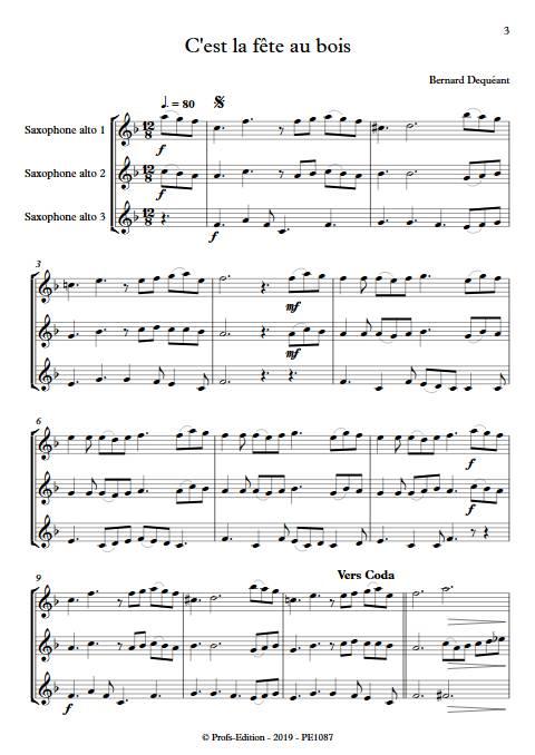 C'est la fête au bois - Trio de Saxophones - DEQUEANT B. - Partition