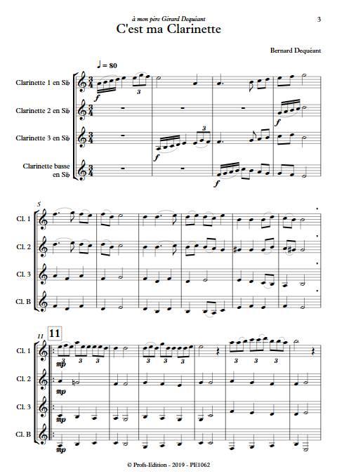 C'est ma clarinette - Quatuor de Clarinettes - DEQUEANT B. - Partition