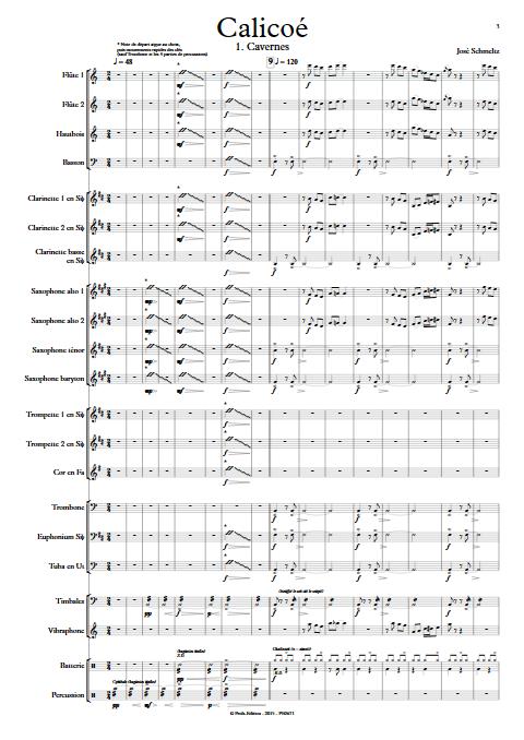 Calicoé - Orchestre d'Harmonie - SCHMELTZ J. - Partition