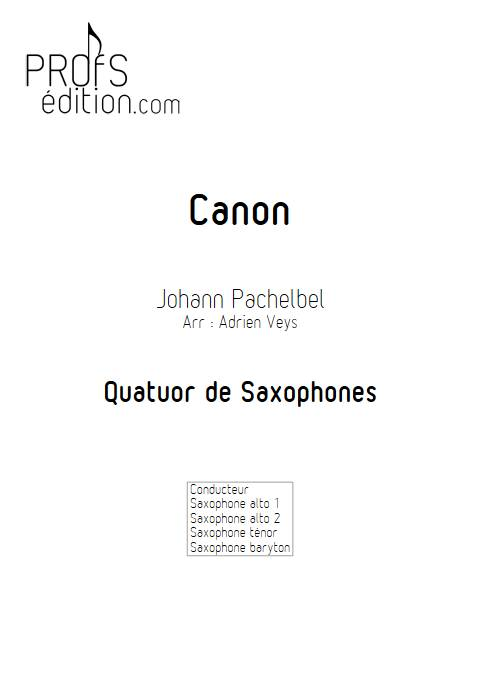 Canon - Quatuor de Saxophones - PACHELBEL J. - page de garde