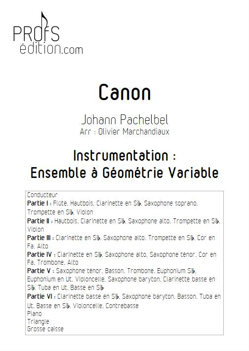 Canon - Ensemble Variable - PACHELBEL J. - page de garde
