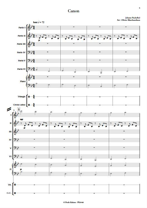 Canon - Ensemble Variable - PACHELBEL J. - Partition