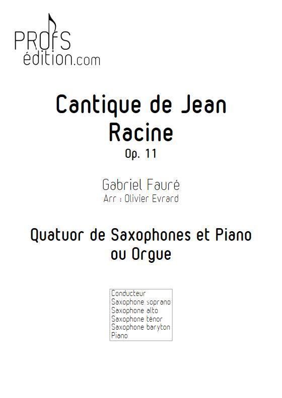 Cantique de Jean Racine - Quatuor de saxophones et clavier - FAURE G. - page de garde