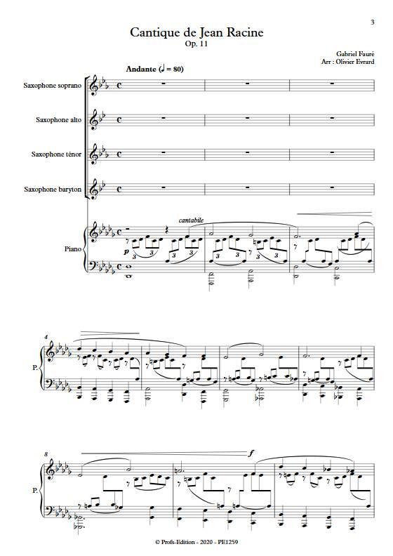 Cantique de Jean Racine - Quatuor de saxophones et clavier - FAURE G. - Partition