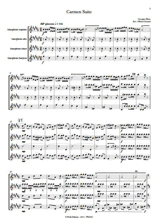 Carmen Suite - Quatuor de Saxophones - BIZET G. - Partition