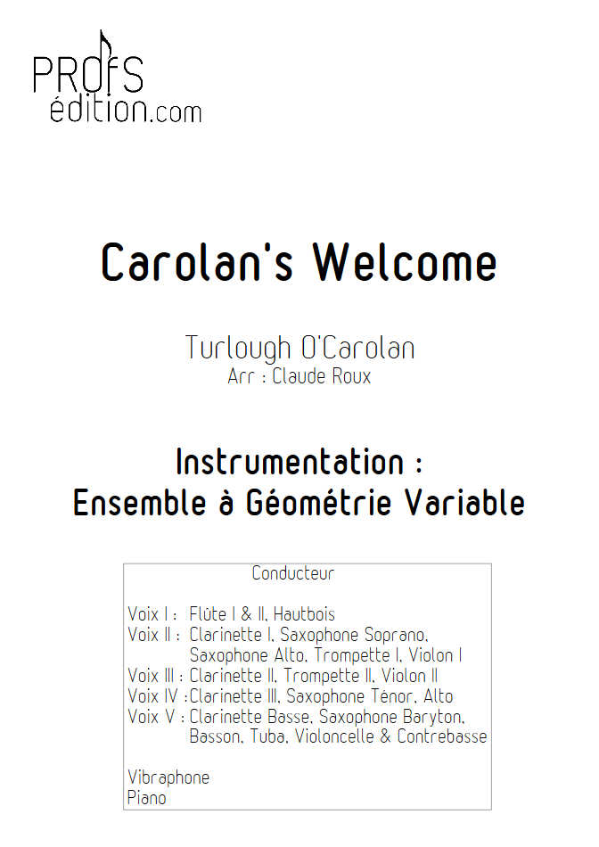 Carolan's Welcome - Ensemble à Géométrie Variable - O'CAROLAN T. - page de garde