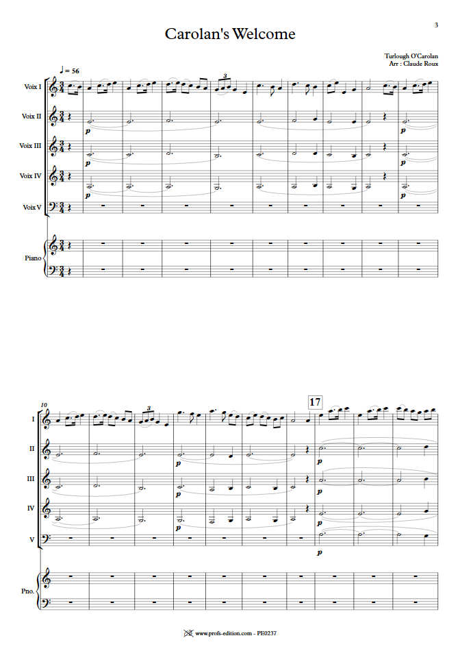 Carolan's Welcome - Ensemble à Géométrie Variable - O'CAROLAN T. - Partition