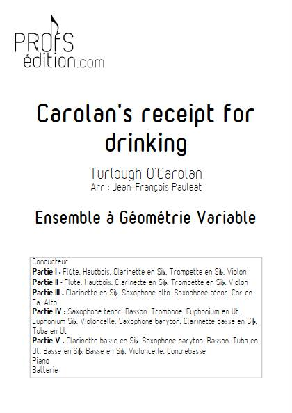 Carolan's receipt for drinking - Ensemble Variable - O'CAROLAN T. - page de garde