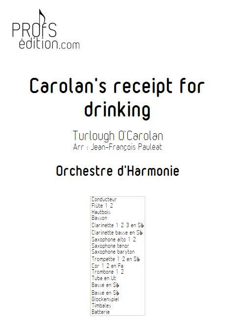 Carolan's receipt for drinking - Orchestre d'Harmonie - O'CAROLAN T. - page de garde