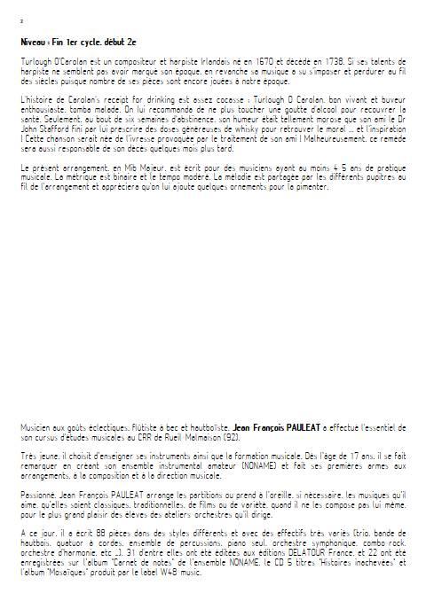 Carolan's receipt for drinking - Orchestre d'Harmonie - O'CAROLAN T. - Fiche Pédagogique