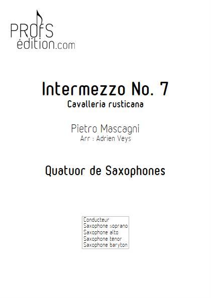 Cavaliera rusticana - Intermezzo No 7 - Quatuor de Saxophones - MASCAGNI P. - page de garde