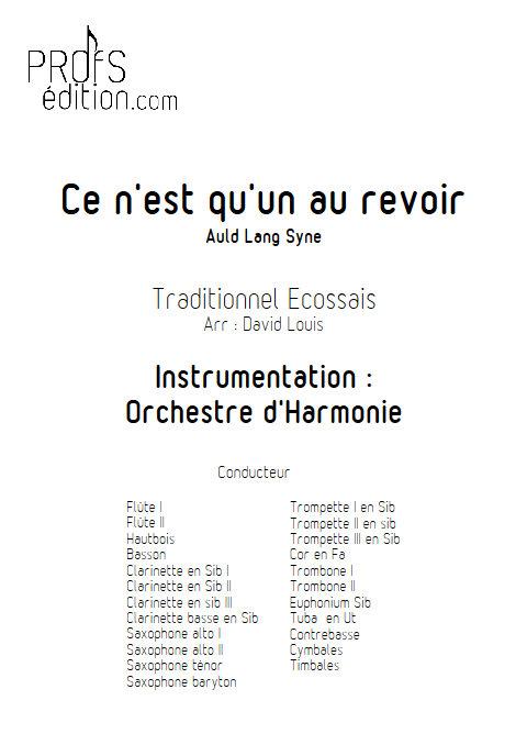 Ce n'est qu'un au revoir - Orchestre d'Harmonie - TRADITIONNEL ECOSSAIS - page de garde