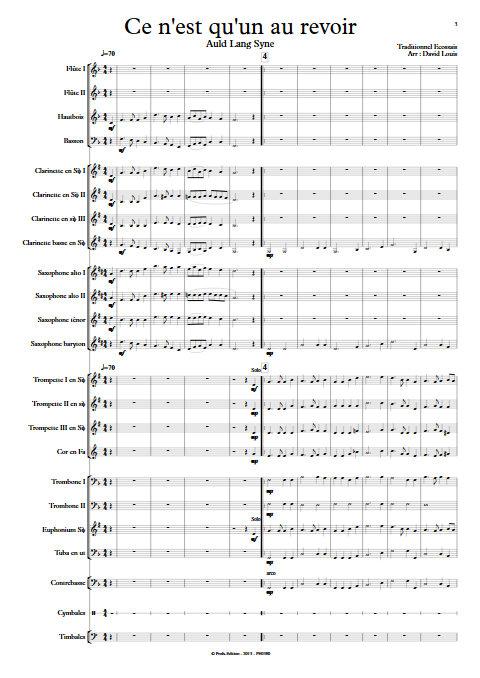 Ce n'est qu'un au revoir - Orchestre d'Harmonie - TRADITIONNEL ECOSSAIS - Partition