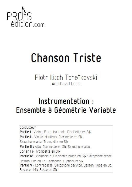Chanson Triste - Ensemble à Géométrie Variable - TCHAIKOVSKY P. I. - page de garde