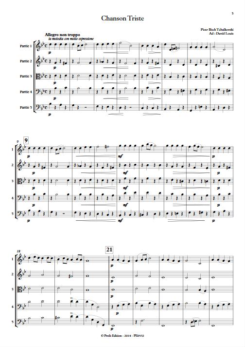 Chanson Triste - Ensemble à Géométrie Variable - TCHAIKOVSKY P. I. - Partition