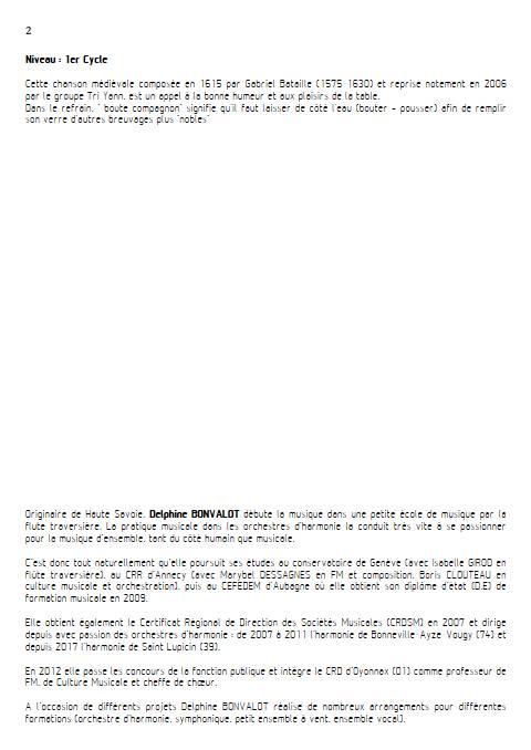 Chanson à boire - Chœur mixte - BATAILLE G. - Fiche Pédagogique